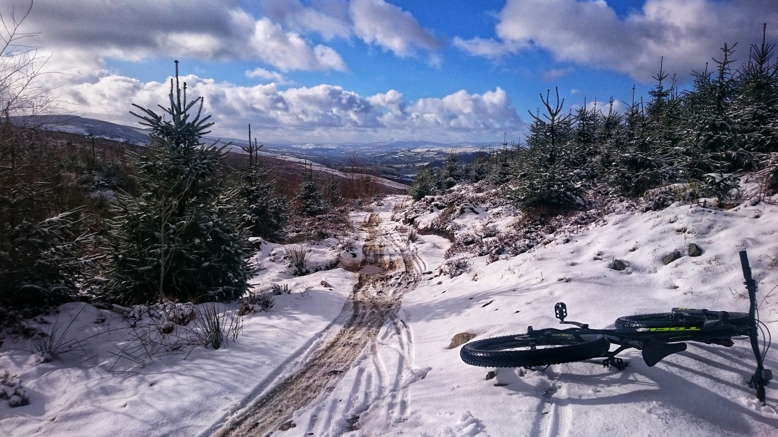Kieran Rae One Planet Adventure Llandegla Forest Wales Mountain Bike Trek Stache Snow
