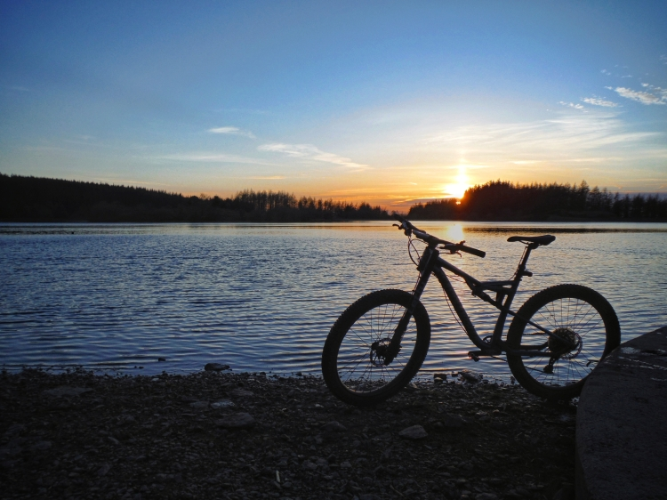 Kieran Rae One Planet Adventure Llandegla Reservoir Wales Mountain Bike Cannondale Bad Habit Sunset